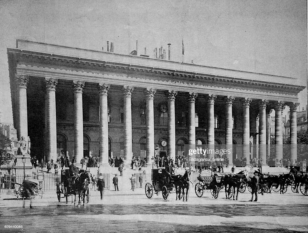 Early autotype of the stock exchange in paris france 1880