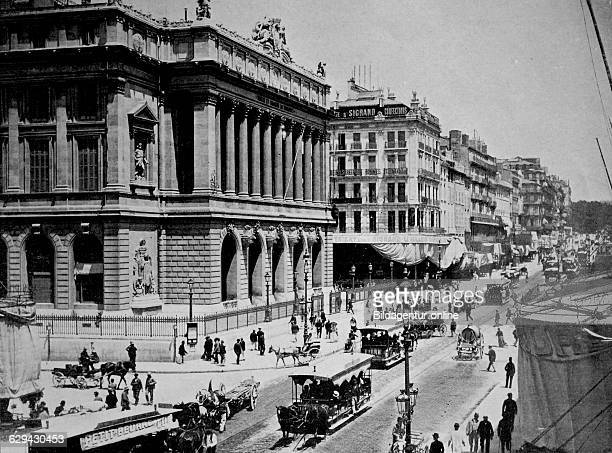 Early autotype of the stock exchange of marseille france