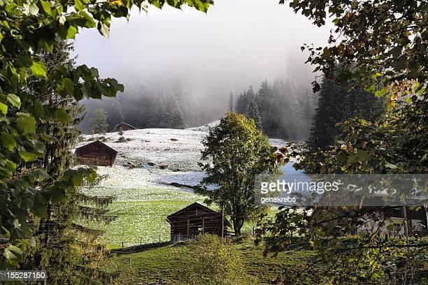 Frühherbst Schneemenge in Schweizer Alpen