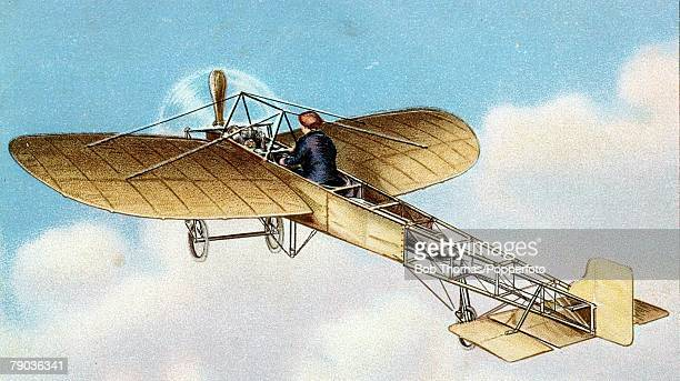 Early Aviation Colour Illustration Circa 1910's M Louis Bleriot made a name for himself and his monoplane on July 25th 1909 being the first man to...