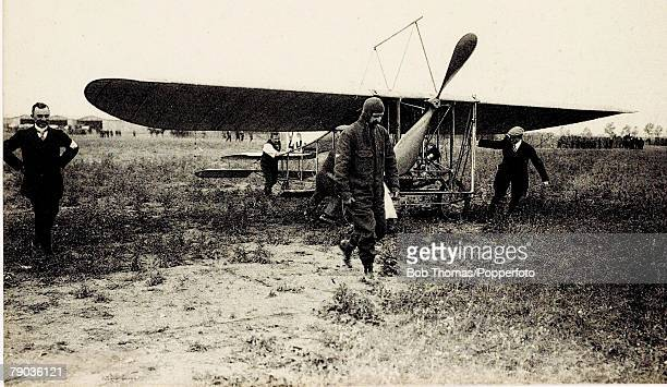 Early Aviation Grande Semaine D'Aviation de Champagne22nd 29th August 1909 Louis Bleriot leaves his plane after a flight Bleriot became the first...