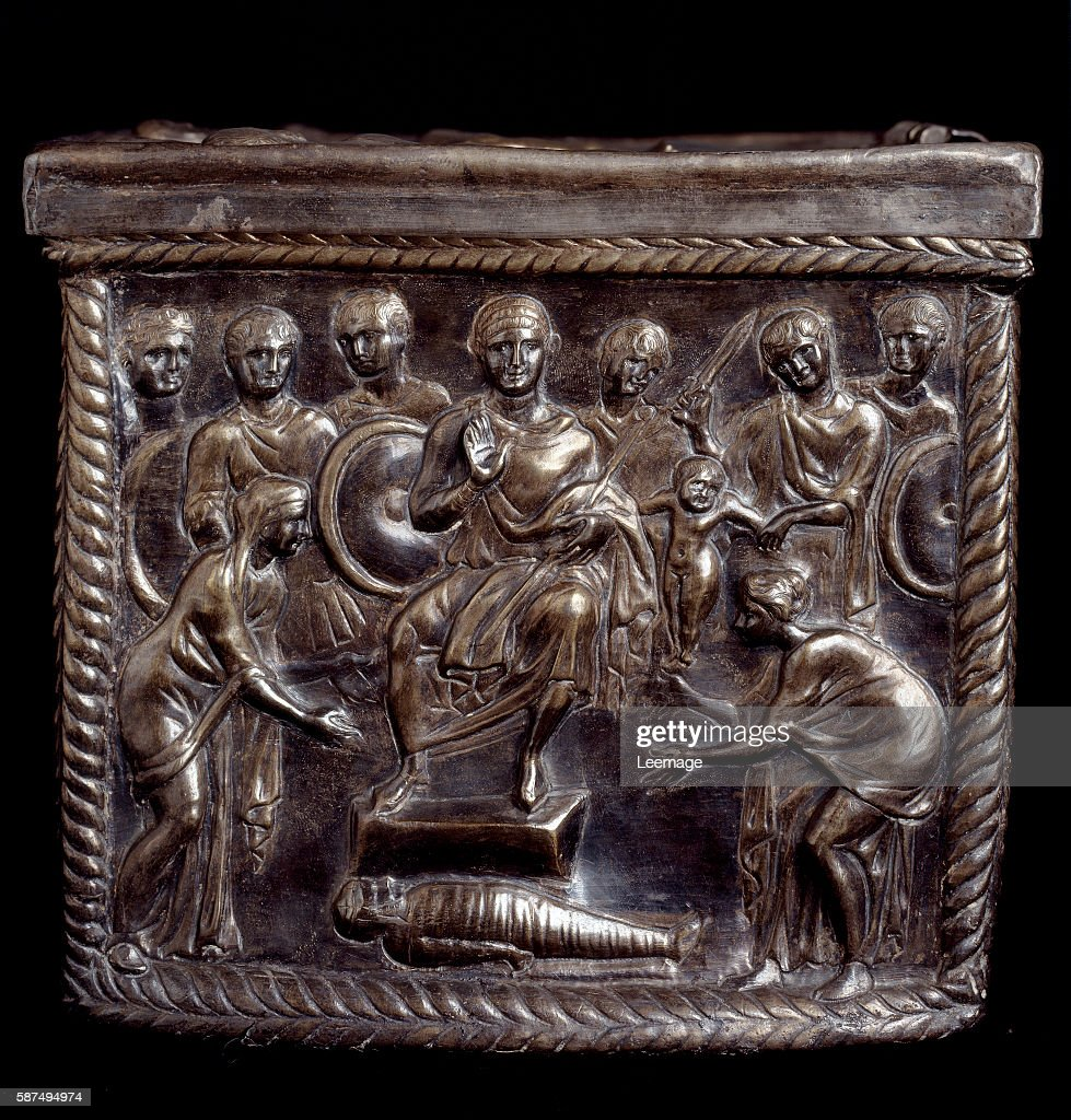 the Judgement of Solomon depicted as the young Roman emperor Honorius the silver casket of San Nazaro 370397 AD Tesoro del Duomo Milan Italy