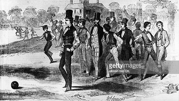 Early days of soccer in the US the Soples versus the Freshmen in Harvard line drawing 1850 Vintage property of ullstein bild