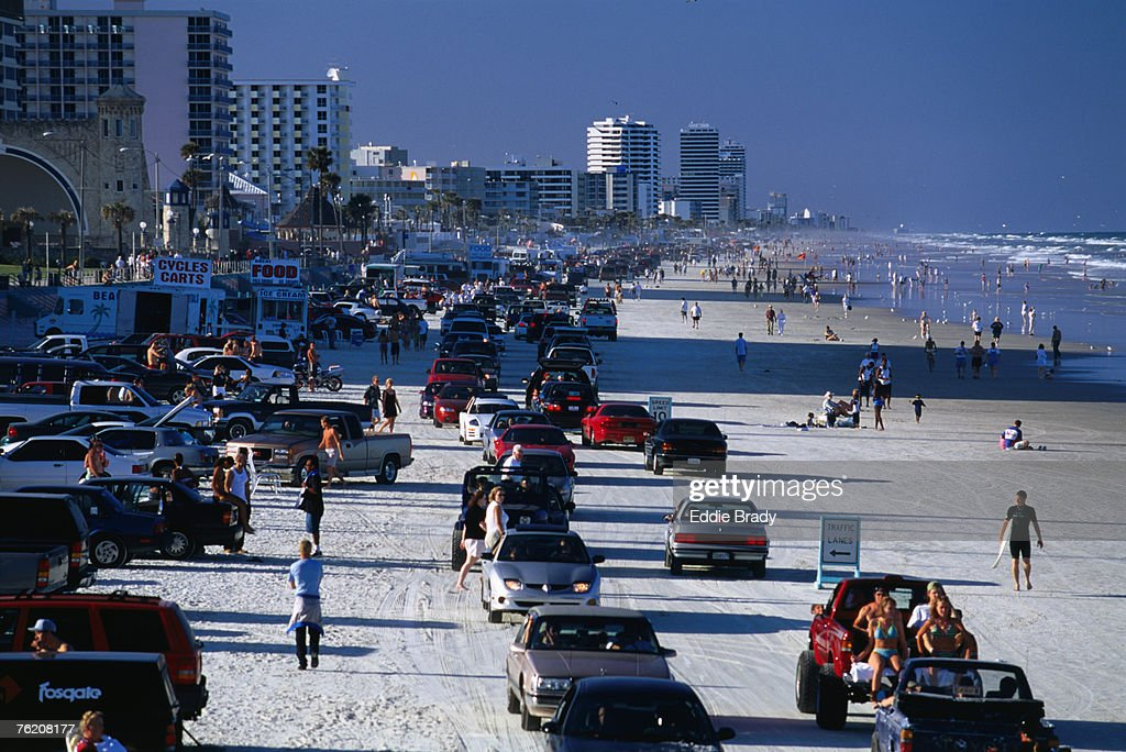 Early evening traffic flocks to Daytona Beach for some Saturday night entertainment, Daytona Beach, Florida, United States of America, North America