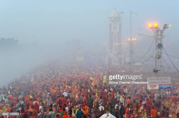 Early Foggy Morning Scene of Kanwad Mela In Haridwar, Uttarakhand, India