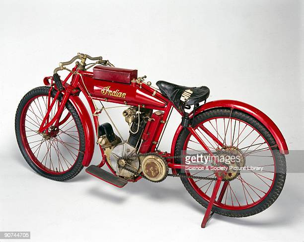 Early Indian motorcycle with 499cc 35 hp singlecyclinder engine which won first second and third places in the Isle of Man Senior Tourist Trophy Race...