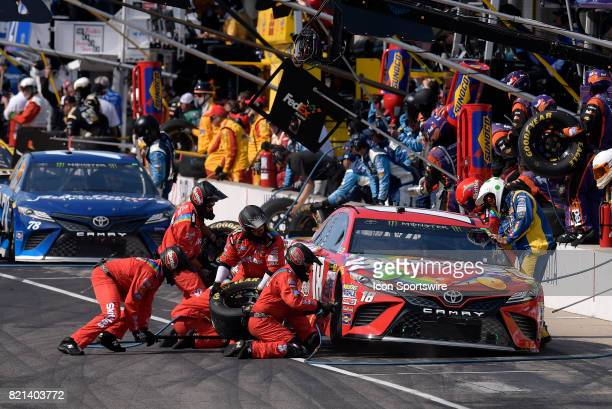 Early leader Kyle Busch Joe Gibbs Racing Toyota Camry makes a pit stop during the NASCAR Monster Energy Cup Series Brantley Gilbert Big Machine...