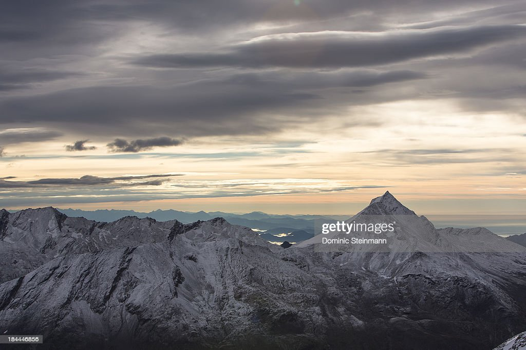 Early morning atmosphere from the Mittel Allalin view point towards Italy on September 16, 2013 in Saas-Fee, Switzerland.