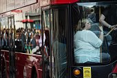 Early morning commuters squeeze onto a bus in the City during a tube strike in London on July 9 2015 London's roads buses and overland trains...