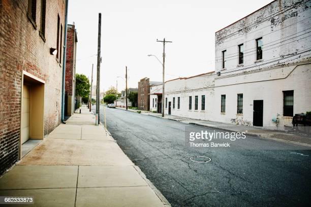 Early morning empty urban street scene