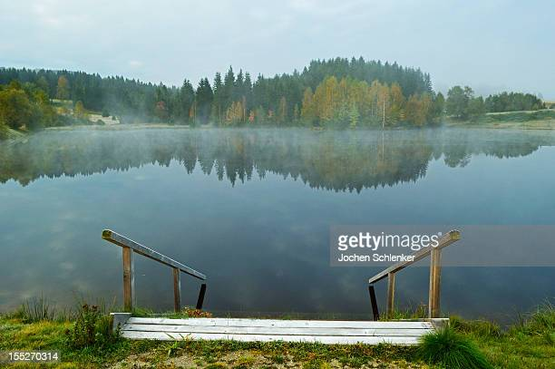 Early morning fog in autumn at Haidmuehler See