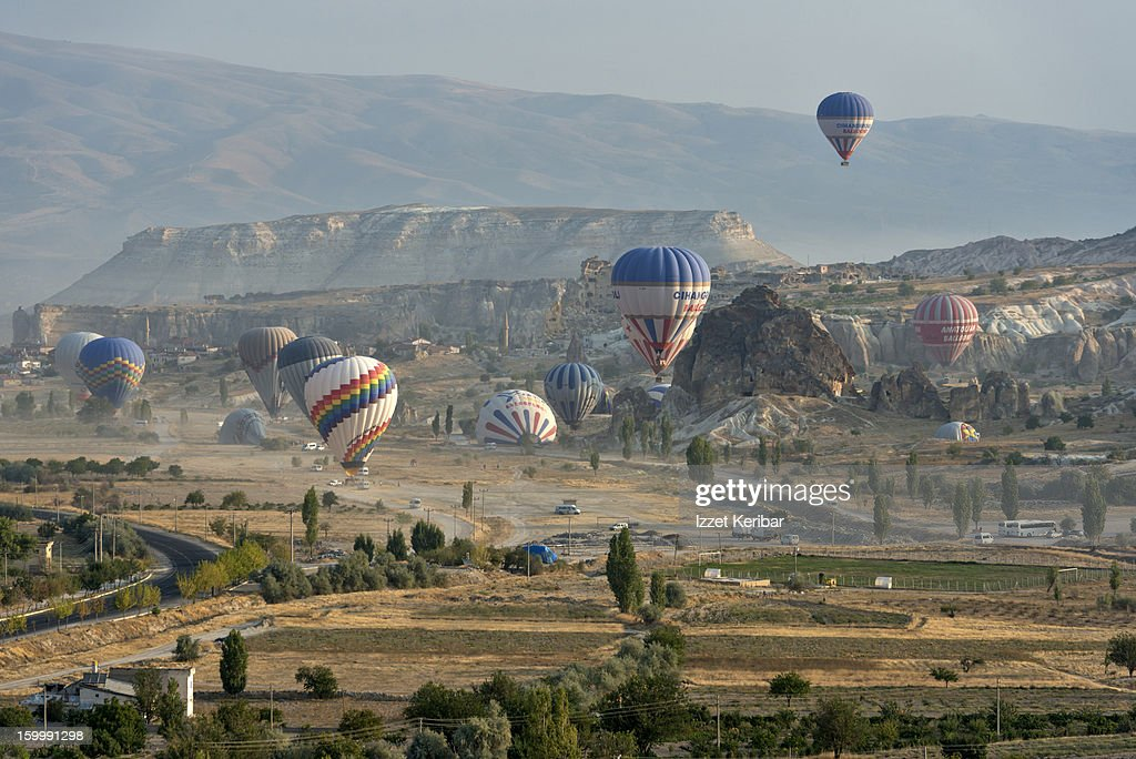 Early morning hot air balloons in Cappadocia : Stock Photo