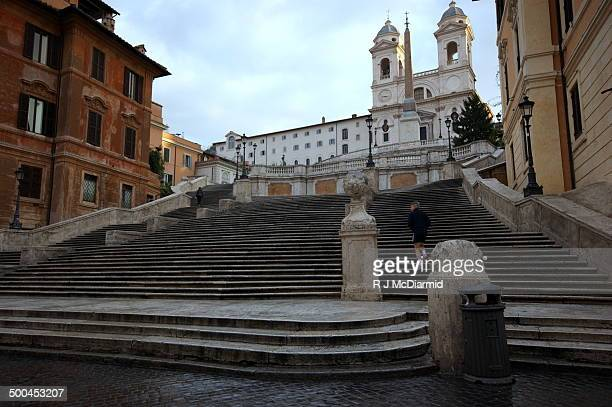 Early morning jogger on Spanish Steps