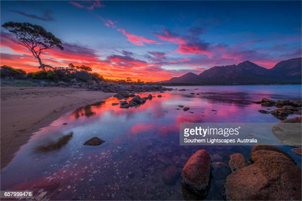 Early morning light in Coles Bay, Freycinet National Park, east coastline of Tasmania.