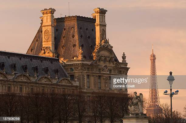 Early morning Louvre and Eiffel Tower