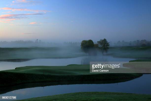 Early morning mist on the 404 yards par 4 15th hole on the Albatross Course at Le Golf National the host venue for the 2018 Ryder Cup on October 14...