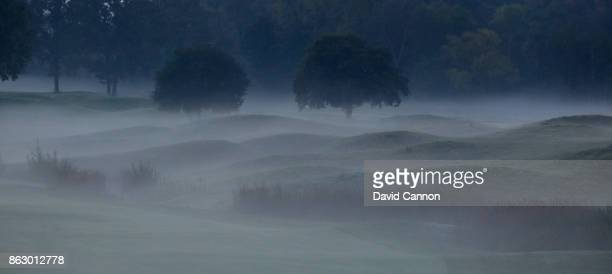 Early morning mist on the 559 par 5 third hole on the Albatross Course at Le Golf National the host venue for the 2018 Ryder Cup on October 15 2017...