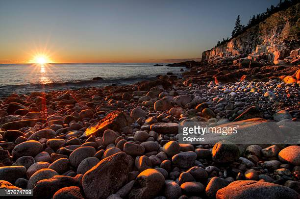 Early morning on a stone beach