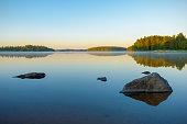 Calm lake scenery at three o´clock in the morning