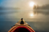 Early morning paddle in a kayak with heavy fog.