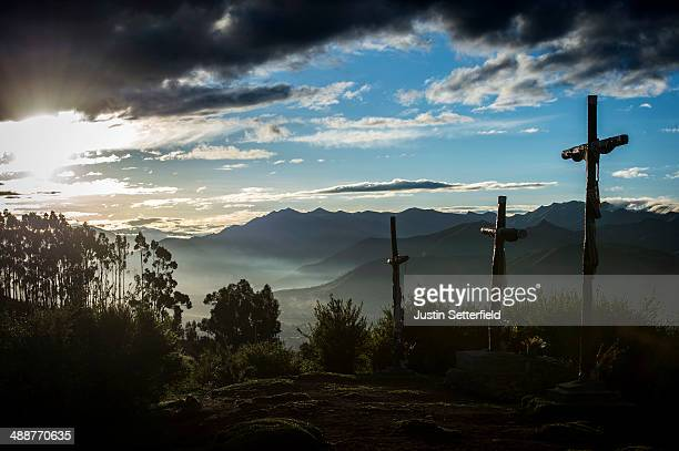 Early morning sunlight dawns over the Incan city of Cusco from Sacsayhuaman on January 13 2014 in Cusco Peru The historic town of Cusco lies high in...