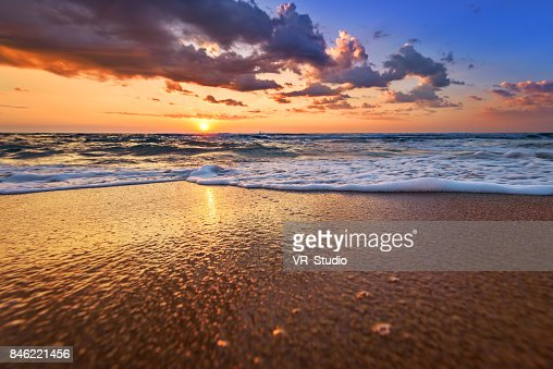 Early morning, sunrise over sea. Golden sands. : Stock Photo