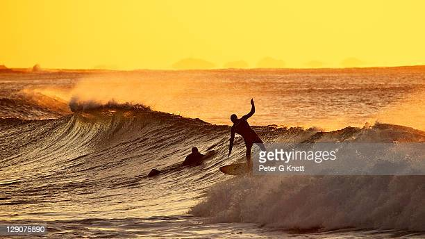 Early morning surfers