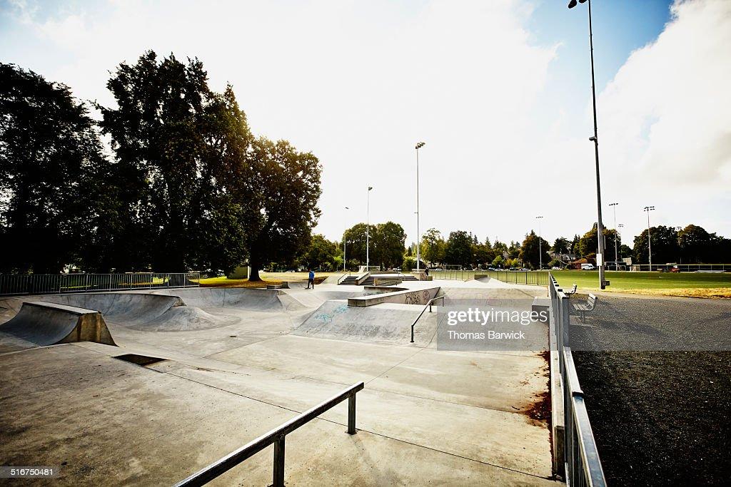 Early morning view of neighborhood skate park