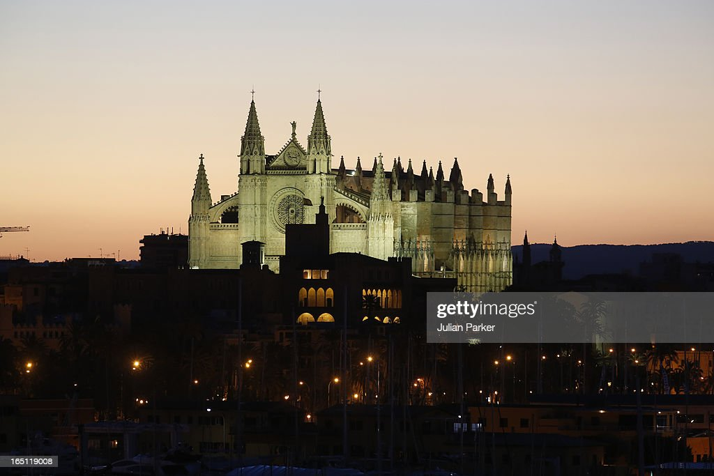 Early morning view of Palma Cathedral where members of The Spanish Royal Family will attended the Easter Sunday Church Service at Palma Cathedral on March 31, 2013 in Mallorca, Spain.