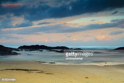 Early morning view of the beach at Polzeath : Foto stock