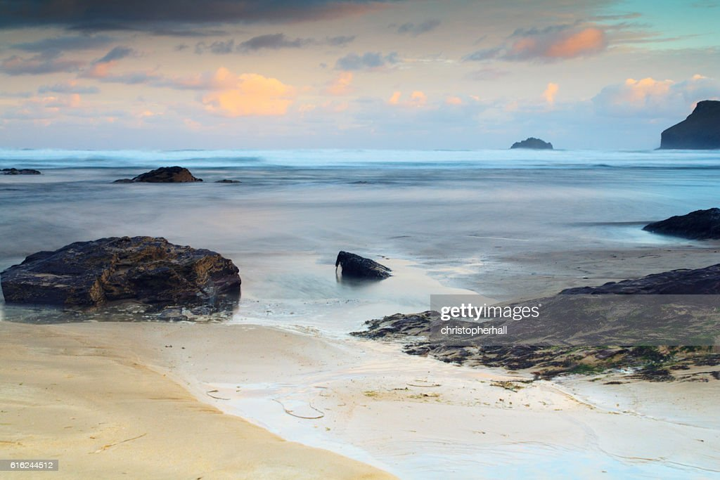 Early morning view of the beach at Polzeath : Stock Photo