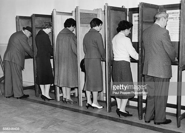 Early morning voters at the polling station in Lambeth Town Hall London during the General Election 8th October 1959