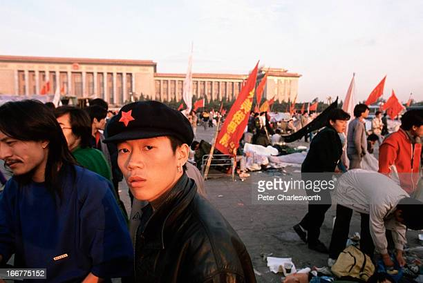 Early one morning in Tiananmen Square Prodemocracy demonstrators and protestors filled the square for weeks prior to the final nighttime Communist...