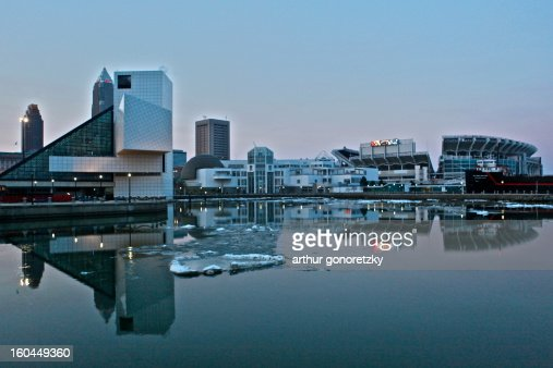 Early Reflections in Cleveland, OH : Stock Photo