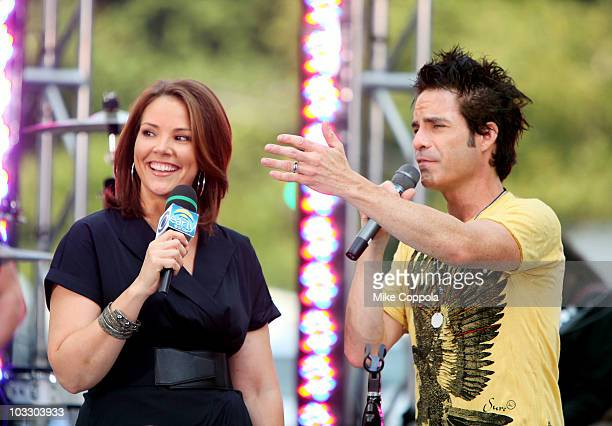 Early Show anchor Erica Hill interviews Train lead singer Patrick Monahan on CBS' 'The Early Show' at CBS Early Show Studio Plaza on August 9 2010 in...