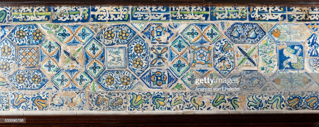 Early sixteenth century Flemish tiles in The Chapel, The Vyne, Hampshire.