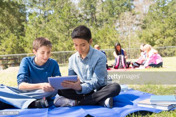 Early teenage boy friends studying in park with digital tablet.