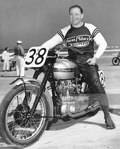 "Californian Ed ""Iron Man"" Kretz Sr shown here on a Triumph in the early1950s won the first Daytona 200 motorcycle race on the Daytona BeachRoad..."