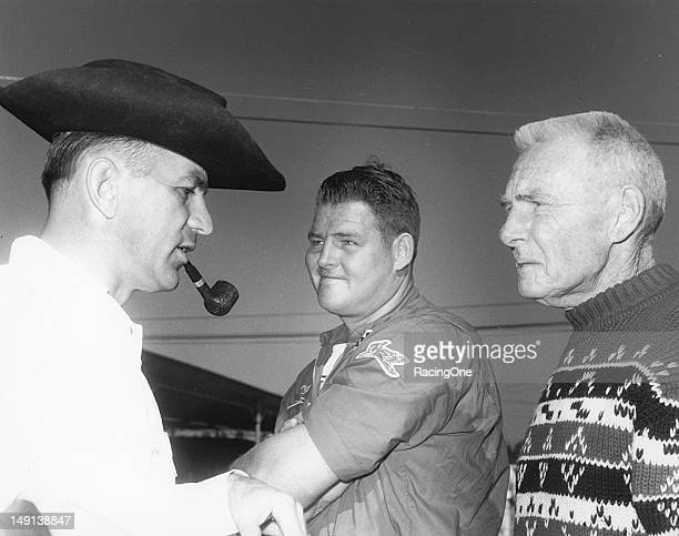 """Two of the great mechanics and innovators in NASCAR racing Henry """"Smokey"""" Yunick and Red Vogt with driver DeWayne """"Tiny"""" Lund before a NASCAR Cup race"""