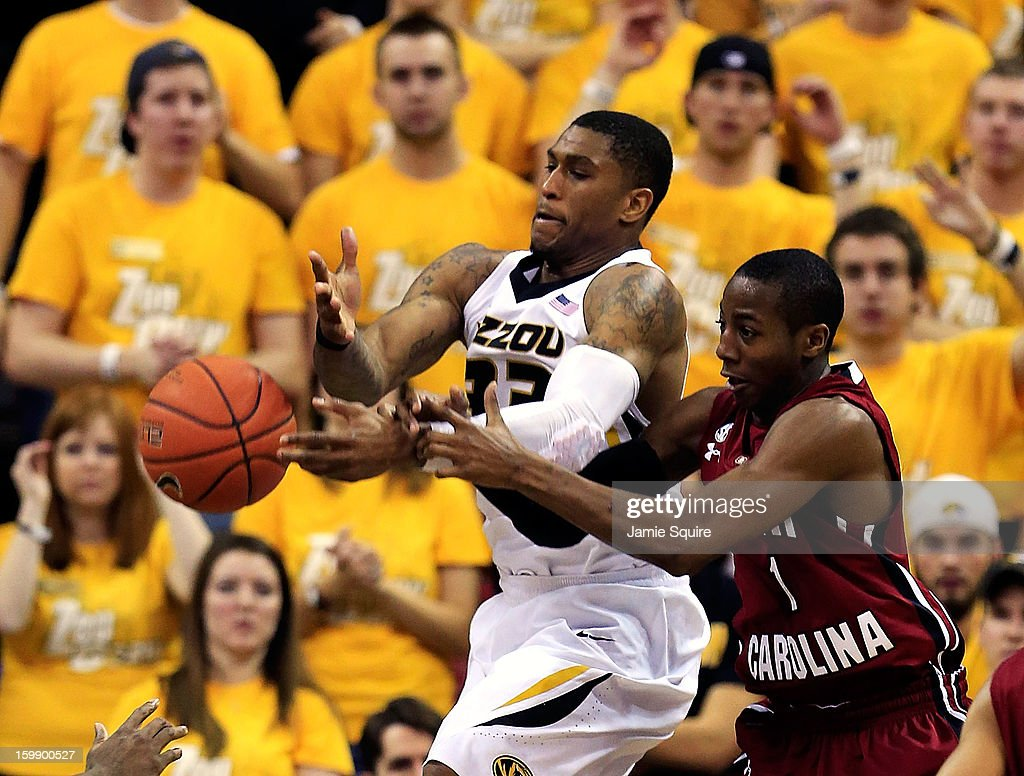 Earnest Ross #33 of the Missouri Tigers battles Brenton Williams #1 of the South Carolina Gamecocks for a rebound during the game at Mizzou Arena on January 22, 2013 in Columbia, Missouri.