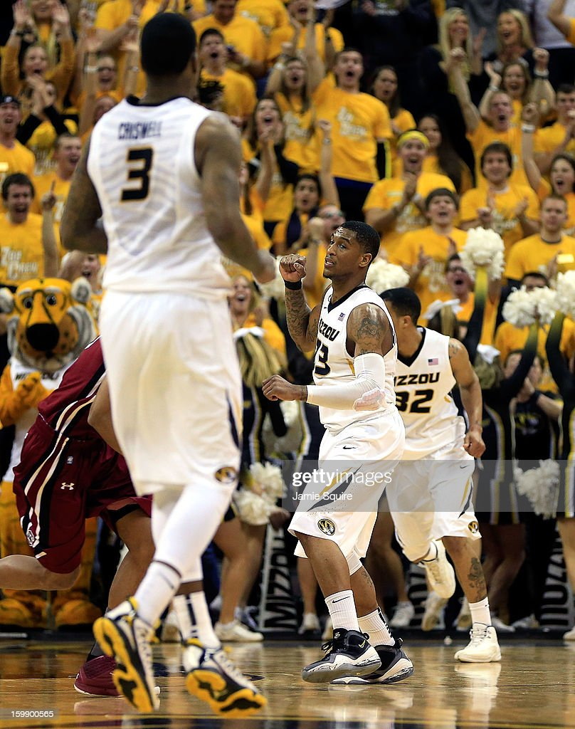 Earnest Ross #33 of the Missouri Tigers celebrates after scoring during the game against the South Carolina Gamecocks at Mizzou Arena on January 22, 2013 in Columbia, Missouri.