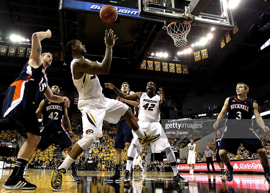 Earnest Ross #33 of the Missouri Tigers grabs a rebound during the game against the Bucknell Bison at Mizzou Arena on January 5, 2013 in Columbia, Missouri.
