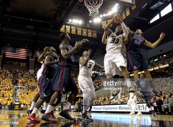 Earnest Ross of the Missouri Tigers grabs a rebound during the game against the Mississippi Rebels at Mizzou Arena on February 9 2013 in Columbia...