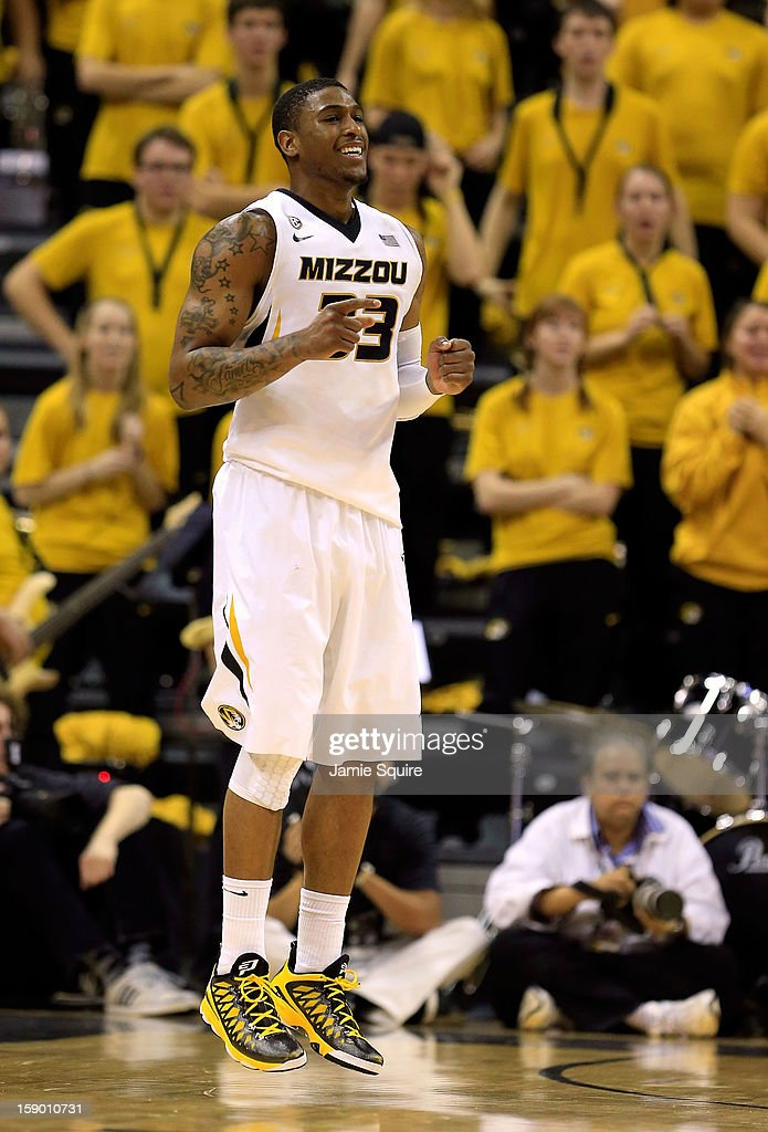Earnest Ross #33 of the Missouri Tigers reacts after scoring during the game against the Bucknell Bison at Mizzou Arena on January 5, 2013 in Columbia, Missouri.