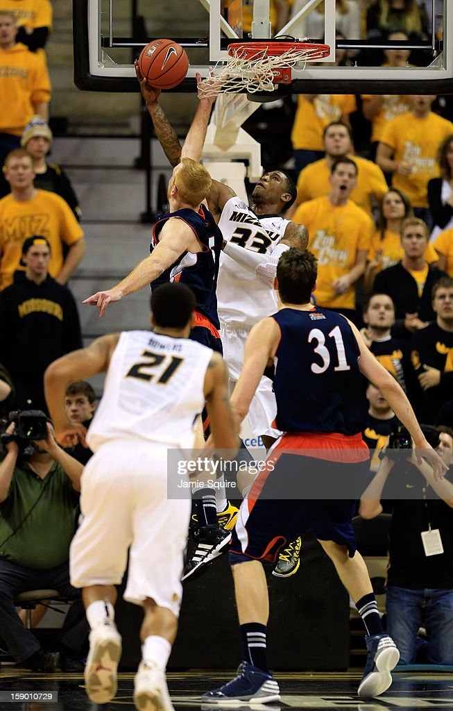 Earnest Ross #33 of the Missouri Tigers scores during the game against the Bucknell Bison at Mizzou Arena on January 5, 2013 in Columbia, Missouri.