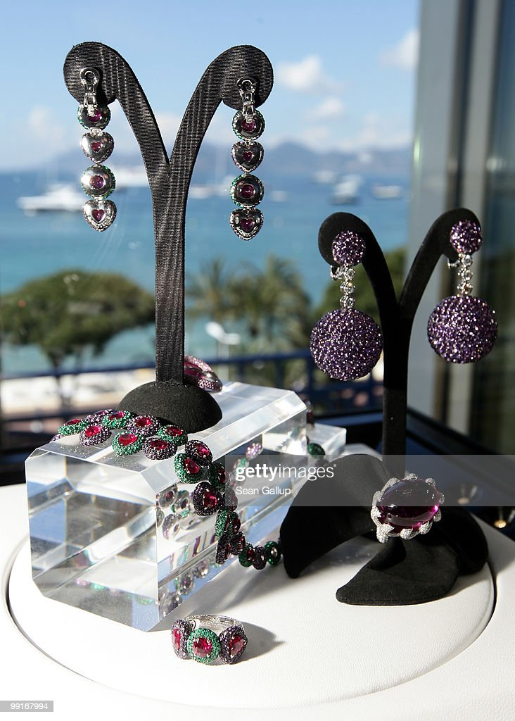 Earrings, bracelets and brooches covered with hundreds of diamonds and other precious stones lie on display at the de Grisogono showroom at the Martinez Hotel during the 63rd Cannes Film Festival on May 13, 2010 in Cannes, France. Shopping and luxury brands are an intrinsic aspect of the annual film festival at Cannes.