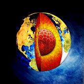 A 3D rendering done in photoshop of planet earth and its visible inner core