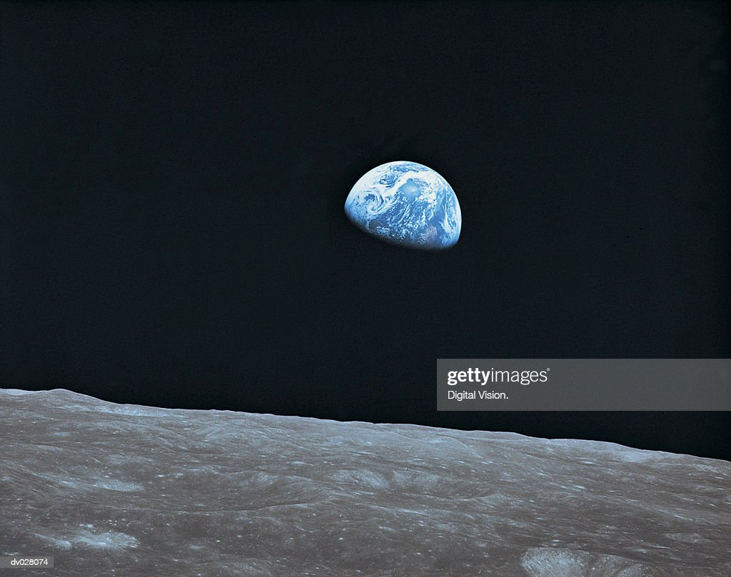 Earth and lunar landscape : Stock Photo