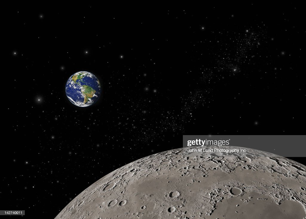 Earth and moon in space : Stock Photo