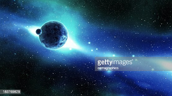 Earth and Moon over the Galaxy in Space